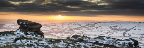 Stunning Winter panoramic landscape snow covered countryside wit Royalty Free Stock Image