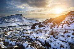 Stunning Winter sunset over countryside landscape with dramatic Stock Image