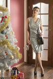 Stunning woman at christmas party Royalty Free Stock Image