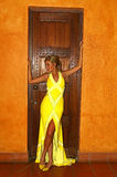 Stunning woman in yellow dress Royalty Free Stock Photography