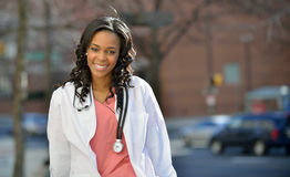 Stunning young African American female healthcare worker Stock Image