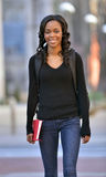 Stunning young African American female student on campus Royalty Free Stock Images