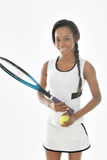 Stunning young African American tennis player Stock Photos