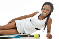 Stunning young African American tennis player Royalty Free Stock Image