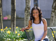 Stunning young African American woman - white tank Royalty Free Stock Photography