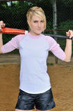 Stunning young blonde female softball player Royalty Free Stock Photography