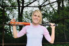 Stunning young blonde female softball player Stock Photography