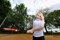 Stunning young blonde female softball player Stock Images