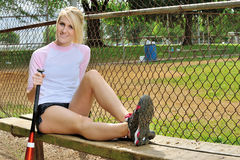 Stunning young blonde female softball player Royalty Free Stock Image