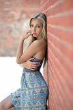 Stunning young blonde model in sundress Stock Photography