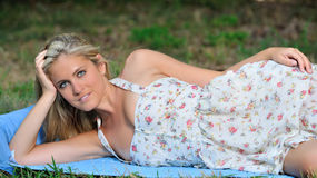 Stunning young blonde woman in sundress Royalty Free Stock Image