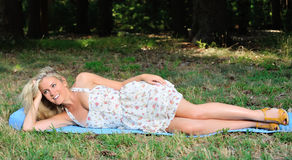 Stunning young blonde woman in sundress Royalty Free Stock Photos