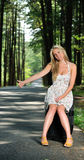 Stunning young blonde woman in sundress - hitching. Sexy young blonde woman wearing a light sundress sits on a suitcase on the side of a country road Stock Photos