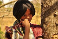 Stunning young girl with amazing eyes. Lonely next to a tree, dark skin and perfect features. Madagascar, African stock images