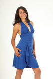 Stunning young girl in blue dress with big smile Stock Photos