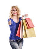 Stunning young woman carrying shopping bags Royalty Free Stock Photo