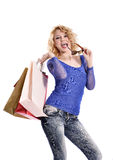 Stunning young woman carrying shopping bags Stock Images