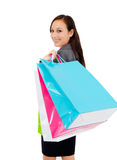 Stunning young woman carrying shopping bags Stock Photos