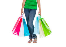 Stunning young woman carrying shopping bags Stock Photography