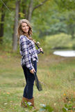 Stunning young woman fishing Stock Photos