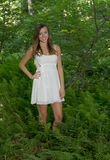 Stunning young woman poses in woods Royalty Free Stock Images