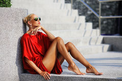 Stunning young woman posing outdoor.  Royalty Free Stock Photo