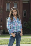 Stunning young woman posing in western wear - tap dance Royalty Free Stock Photography