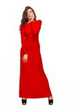 Stunning young woman in red dress Royalty Free Stock Photos