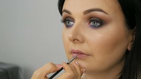 Stunningly beautiful face of a young woman with blue eyes, professional makeup in lilac tones, smoky eyes, makeup artist. Is applying gently pink lipstick to stock video footage