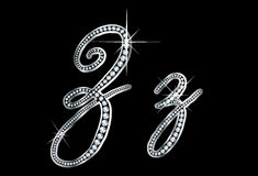 Script Diamond Bling Zz Letters Stock Photos