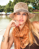 A stunningly beautiful young blondy woman stock photos