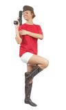 Stunningly young woman posing in garrison cap Royalty Free Stock Images