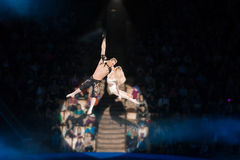 Stunt aerialists in the circus. Love, danger, and romance concept. Stunt aerialists men and women in the circus. Love, danger, and romance concept Royalty Free Stock Photo