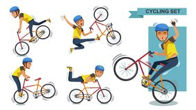Stunt bike. Cycling man set. Stunt bike cartoon characters of male. exercise, motion, Healthy and Challenging Teens Concept.  Vector  illustration. isolated on Stock Photography