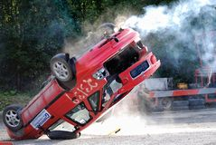 Stunt. Driver jump and flips over Royalty Free Stock Photos