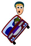 Stunt driving. Funny cartoon stunt driver balancing a tilted car Royalty Free Stock Photo