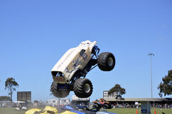 Stunt Driving. Monster Trucks, The Convict and Scooby-doo Preformed at the 151st Annual Royal Geelong Show. Thrilling the large crowds. October 2013 Royalty Free Stock Photo