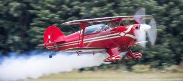 Stunt flyer airplane starting Royalty Free Stock Image