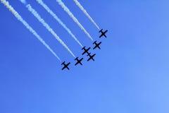Stunt flying squadron. A stunt flying squadron over Prague Stock Photos