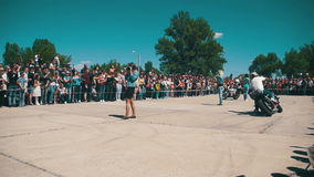 Stunt Moto Show. Extreme Motorsports. Bikers Parade And Show. Slow Motion stock video footage
