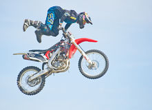 Stunt at Nairn Agricultural Show. An image of a motor bike stunt man  in the judging ring at the Nairnshire Farming Society Show held on 30th July 2011 Stock Photos