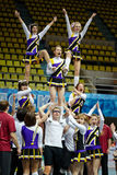 Stunt performed by cheerleaders team Royalty Free Stock Image