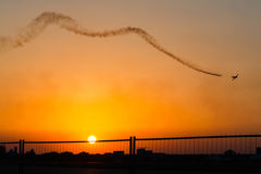 Stunt pilot plane. During an air show, at sunset Royalty Free Stock Photo
