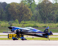 Stunt plane readies for take off. A stunt plane gets ready to rehearse at the MCAS Air Show in Beaufort, SC Stock Image