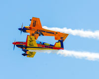 Stunt planes perform at Quonset Airshow. Stock Image