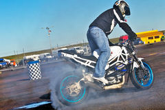 Stunt rider burn out Stock Image