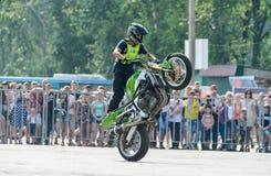 Stunt rider on a sport bike ,on a stunt battle Royalty Free Stock Photography