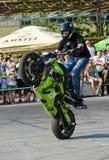 Stunt rider on a sport bike ,on a stunt battle Royalty Free Stock Photos