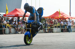 Stunt rider on a sport bike ,on a stunt battle Stock Photos