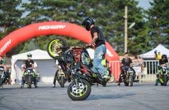 Stunt rider on a sport bike ,on a stunt battle Stock Images